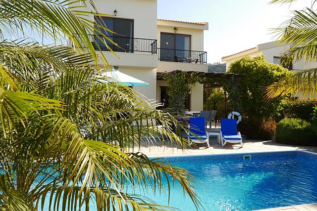 Sunny pool and shady patio