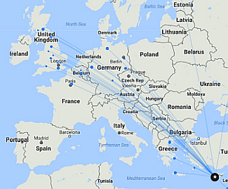 Cyprus flight connections map