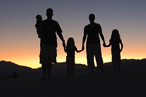 Family sunset silhouette
