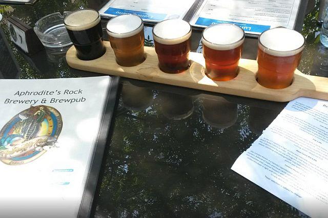 Aphrodites Rock Brewery tasting paddle