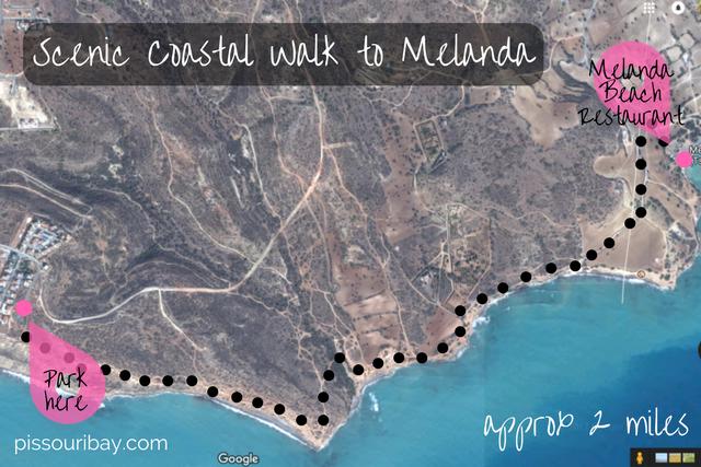 Scenic coastal walk to Melanda - satellite map