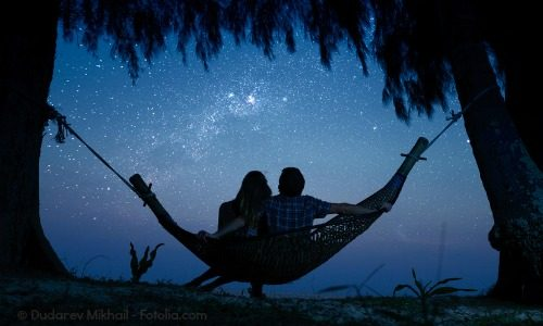 Relaxing in a hammock star gazing