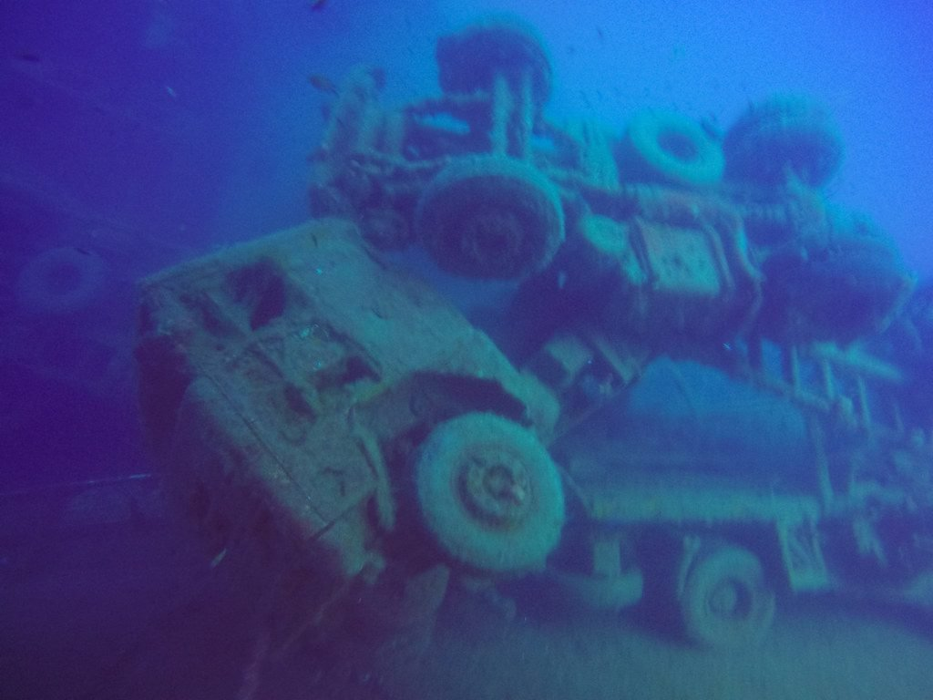 Trucks on board sunken Zenobia